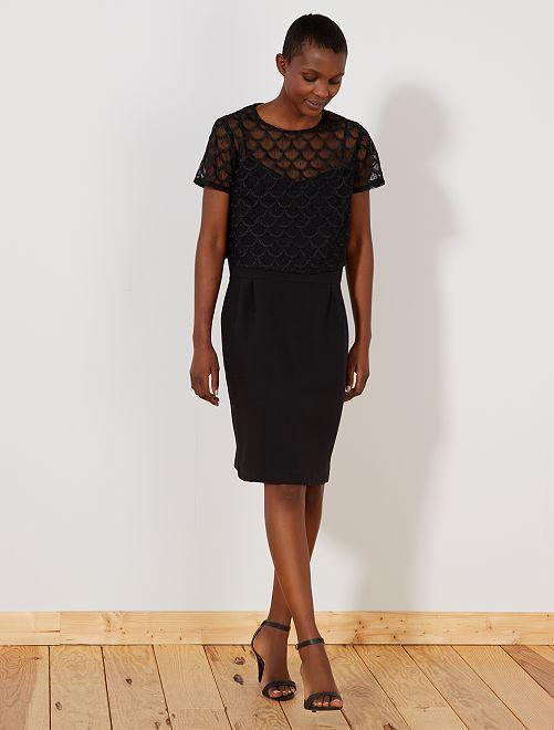 2-in-1-jurk met kanten bolero                             zwart Dameskleding