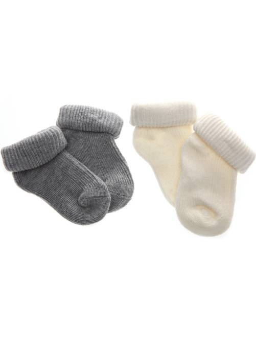 2 paar sokjes van biologisch katoen                                                     grijs / ecru Jongens babykleding