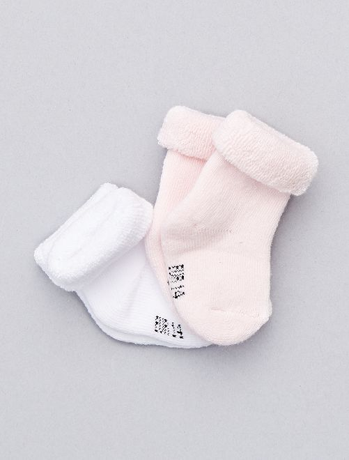 2 paar sokjes van biologisch katoen                                                                             wit / roze Meisjes babykleding