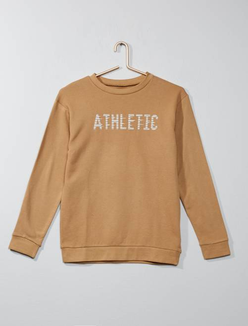 'Athletic' sweater van joggingstof BIEGE Kinderkleding jongen