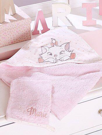 Meisje 0-36 maanden - Badcape en washandje van badstof van 'Marie' - Kiabi