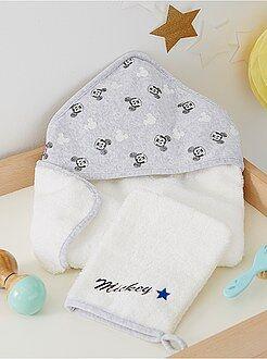 Babykamer, badkamer - Badcape met washandje van 'Mickey'