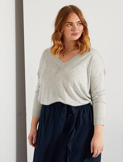 Basic trui van fijn tricot                                                                                                                     GRIJS