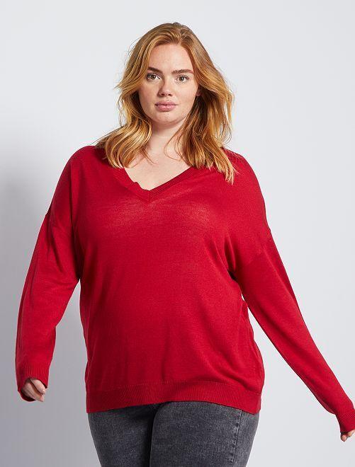 Basic trui van fijn tricot                                                     rood