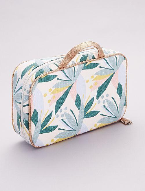 Beautycase met 'tropische' print!                             BIEGE