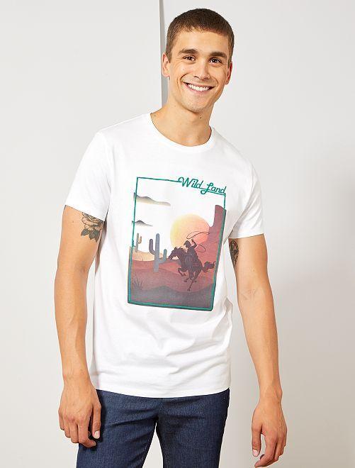 Bedrukt T-shirt met borduursel                                                     WIT