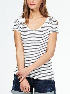 Bedrukt T-shirt met een ronde hals