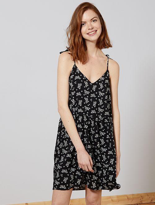 Bedrukte jurk met ronde of V-hals                                                                                                                 ZWART Dameskleding