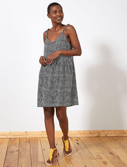 Bedrukte jurk met ronde of V-hals                                                                                         ZWART