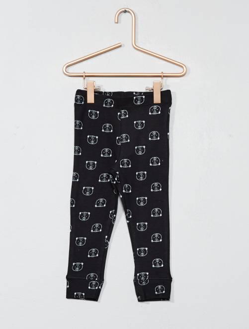 Bedrukte legging van 100% katoen ZWART Meisjes babykleding