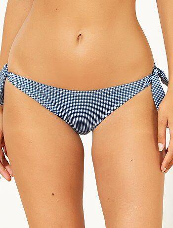 Bikinibroekje met koordjes en print van minruitjes - Kiabi