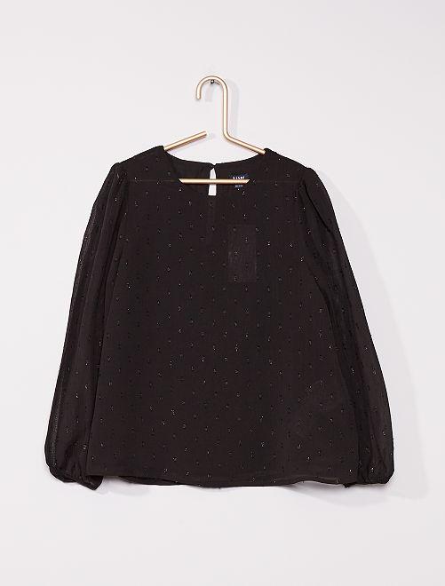 Bloesje met glansdetails                                                     zwart