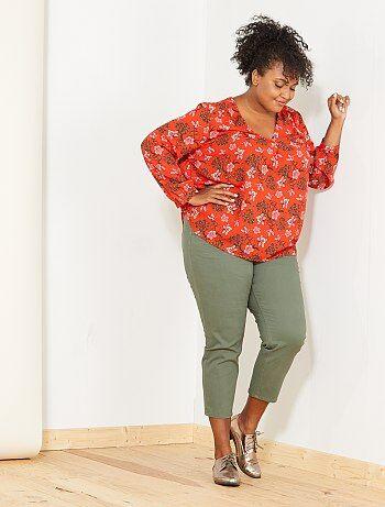 Dames Size+ - Blouse met een print en een gekruiste hals - Kiabi