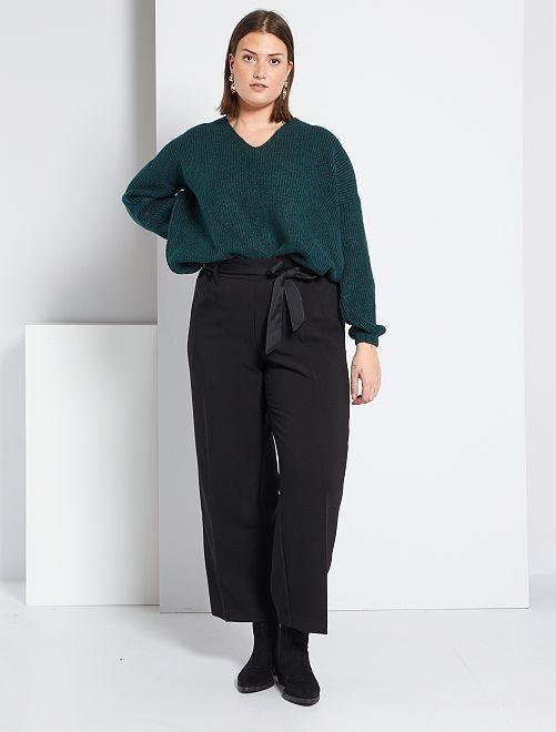 Brede broek met gesatineerde tailleband                             zwart