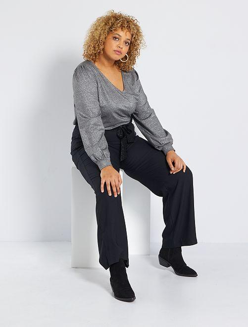 Brede broek met riem                             zwart