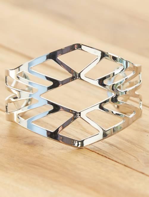 Brede, opengewerkte armband                                         GRIJS