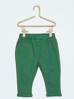Broek, jeans - Broek van twee stoffen met twill en joggingstof