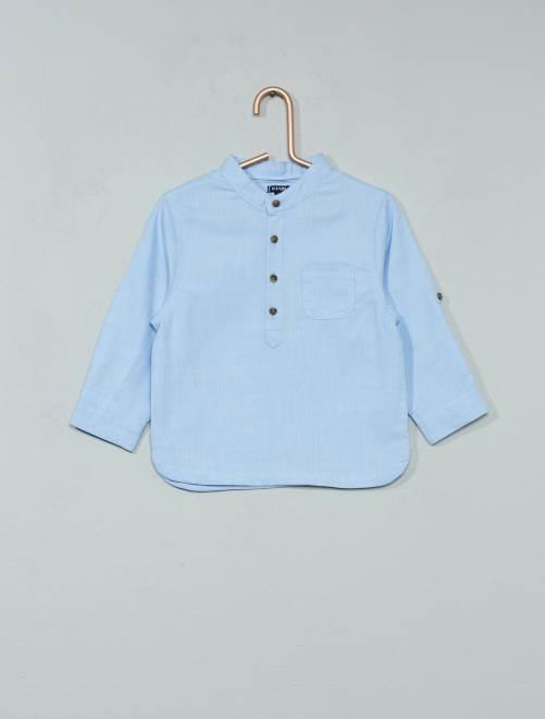 Chambray blouse met een maokraag                             BLAUW