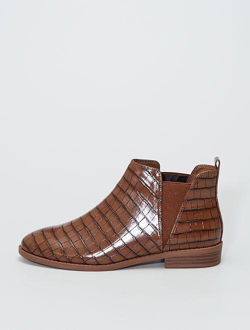 Chelsea boots met krokodilpatroon                             oranje