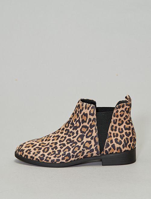 Chelsea boots met luipaardprint                             BRUIN Schoenen