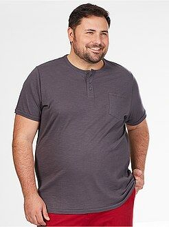 Herenmode grote maten Comfortabel T-shirt van 100% katoen met Tunesische hals