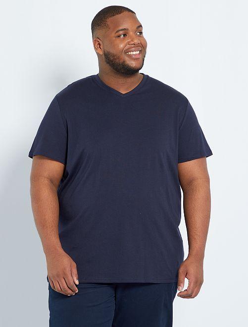 Comfortabel T-shirt van effen tricot                                                                 BLAUW