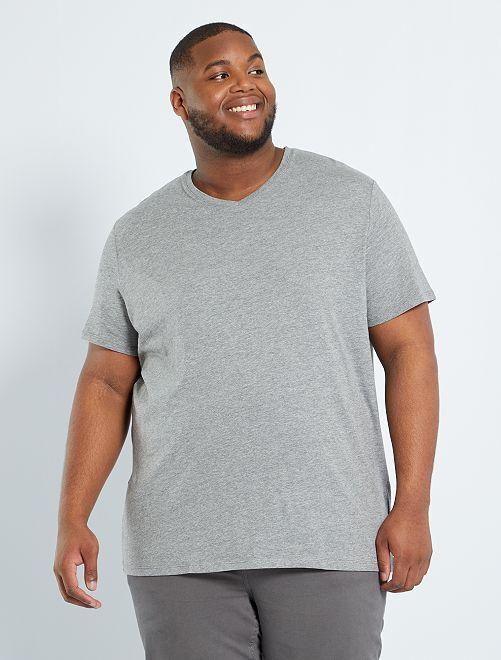 Comfortabel T-shirt van effen tricot                                                         GRIJS
