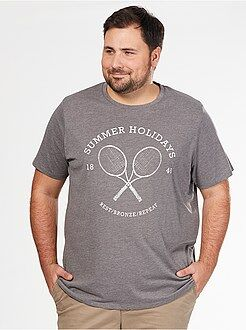 Herenmode grote maten Comfortabel T-shirt van tricot met sportprint