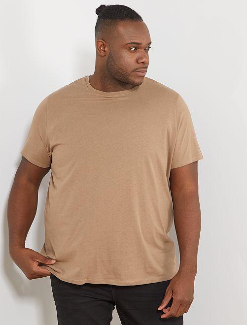 Comfortabel tricot T-shirt                                                                                                                                                                             beige Herenmode grote maten