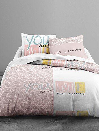 Dekbedovertrekset met print van 'you and me' - Kiabi