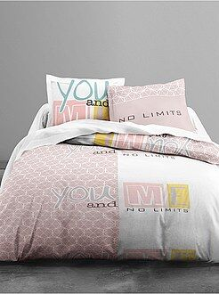 Bedtextiel volwassenen - Dekbedovertrekset met print van 'you and me' - Kiabi