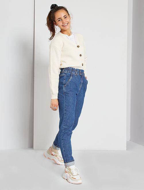 Denim jeans in paperbag-stijl                             BLAUW
