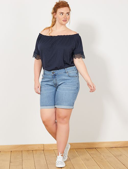 Denim short                                                                             BLAUW Dames size+