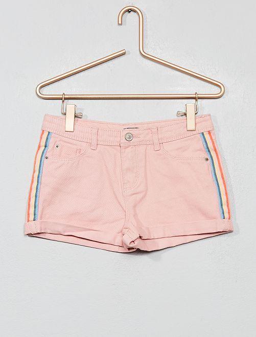 Denim short met strepen                                                     ORANJE Kinderkleding meisjes
