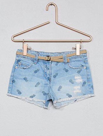 Destroy short van spijkerstof + riem - Kiabi
