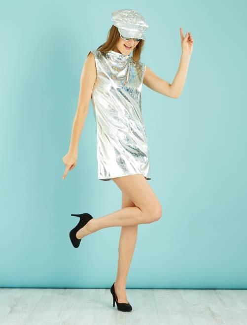 Disco verkleedkostuum                             zilver Dames