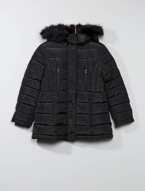 Donsjack met capuchon                                         zwart Kinderkleding meisje