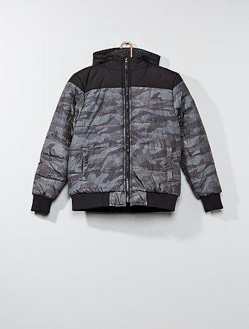 Doorgestikt donsjack met camouflageprint - Kiabi