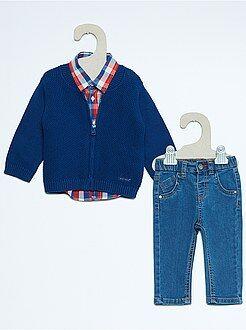 Setje, speelpakje - Driedelig setje met een vestje, een jeans en een blouse