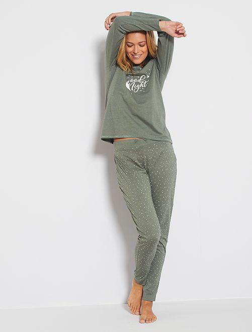 Ecologisch ontworpen pyjama                                                                 KAKI