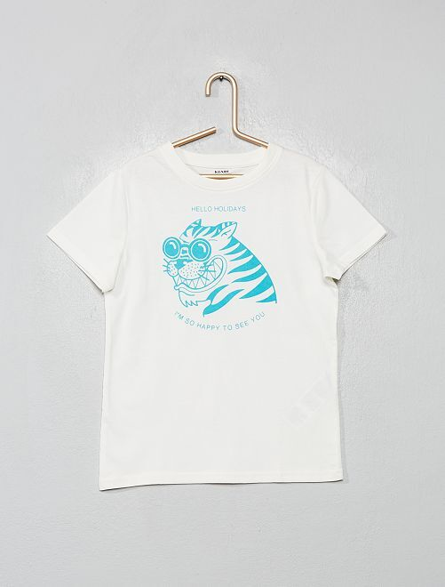 Ecologisch ontworpen T-shirt met print                                                                             WIT