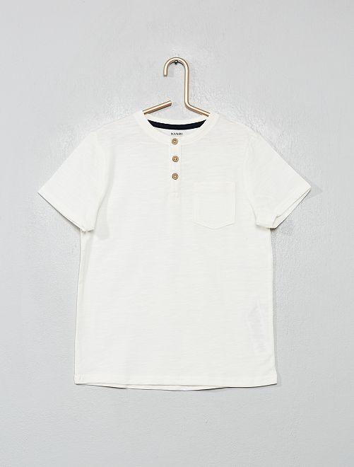 Ecologisch ontworpen T-shirt met Tunesische kraag                                         sneeuw wit