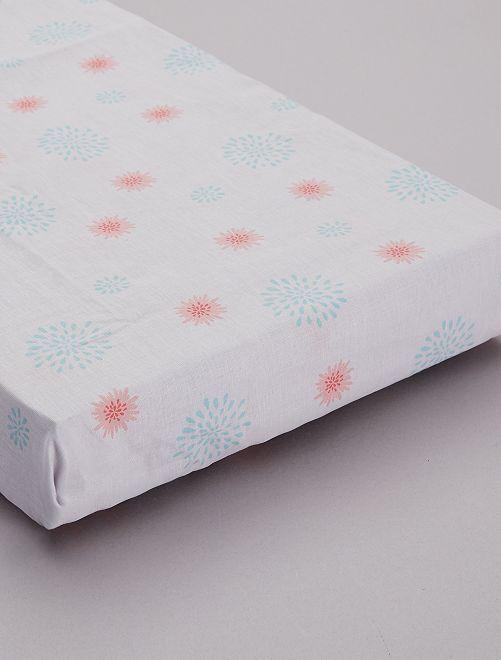 Eenpersoons hoeslaken met bloemenprint                             wit Woongoed