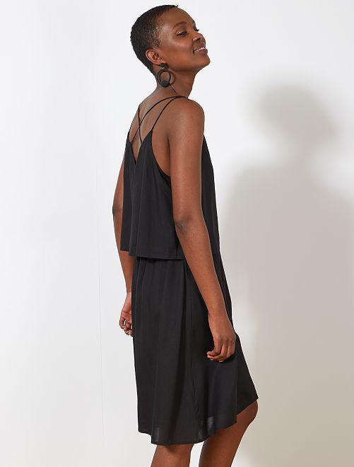 Effen 2-in-1 jurk                             zwart Dameskleding