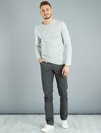 Effen fitted T-shirt van katoen + 1,90 m - Kiabi