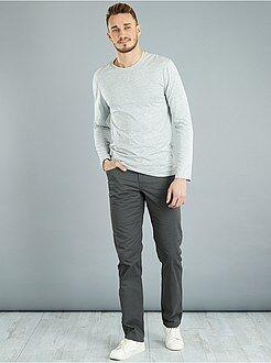Heren tall (> 190cm) - Effen fitted T-shirt van katoen + 1,90 m - Kiabi