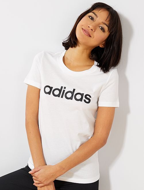 Effen T-shirt met een 'Adidas' print                                         WIT Dameskleding