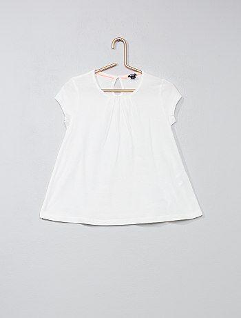 Effen T-shirt met plooitjes - Kiabi