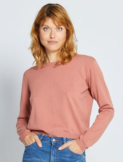 Effen trui van fijn tricot                                                                                                                                         fuchsia paars