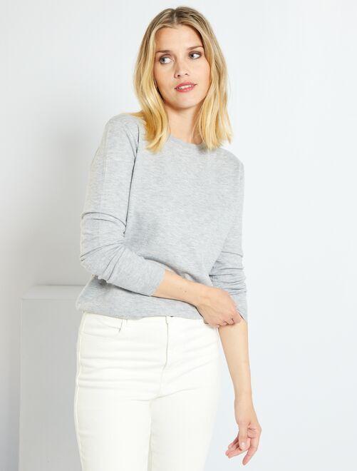 Effen trui van fijn tricot                                                                                                                                         GRIJS